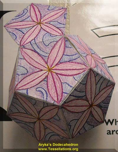 flower theme decoration on the surface of a do-it-yourself dodecahedron