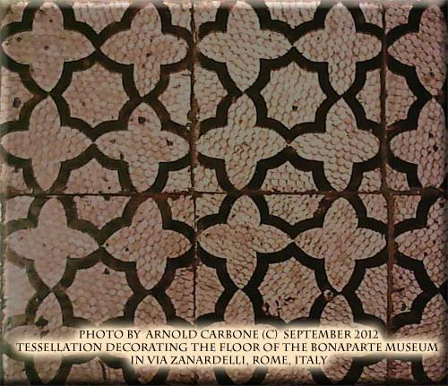 tessellated tiles in the floor of bonaparte museu, rome, italy