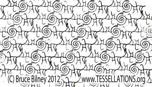 elephant motif Escher-style tessellation art by Bruce Bilney