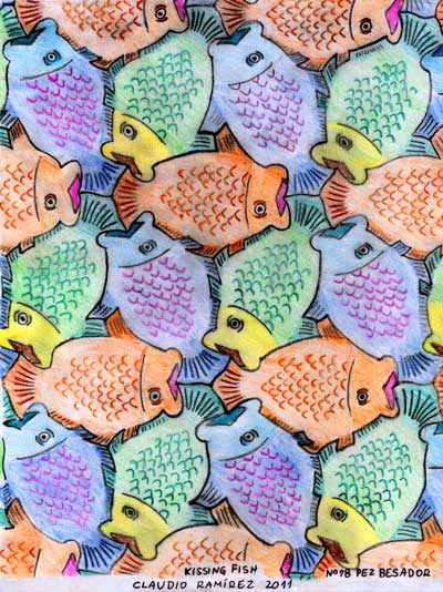 'Kissing Fish' by Chilean Tessellation artist claudio ramirez fernando lagos
