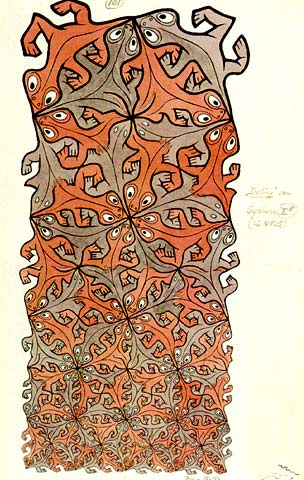 Division (1956): Red Gecko motif Tessellation Art by M. C. Escher