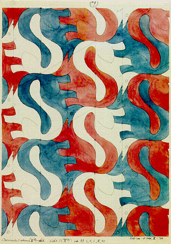 Tessellation art (1936) squirrels by M C Escher
