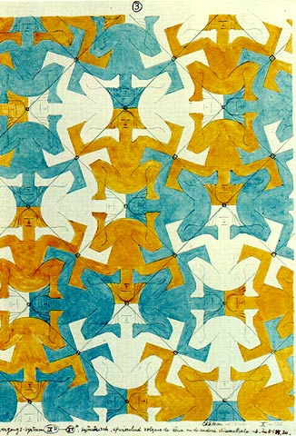 (1936) strongmen motif in tessellation art by M C Escher