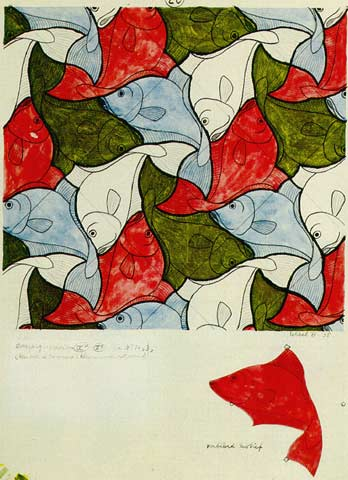 FISH (1938): tessellation art by M. C. Escher