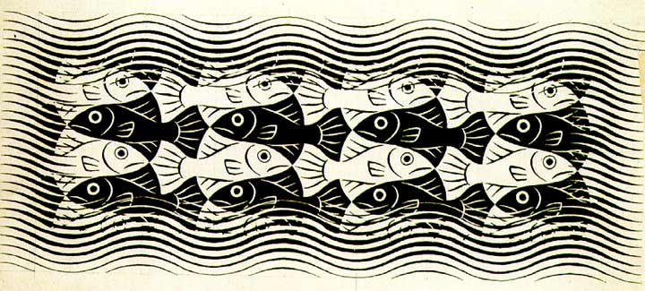 Fishes Mural (1958): tessellation art by M. C. Escher
