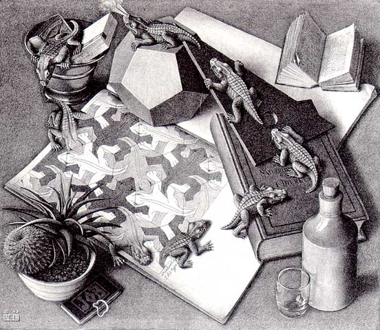 Reptiles (1943) classic icon of M C Escher tessellation art