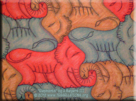 Elephant theme tessellation art by Alfred Meyers III