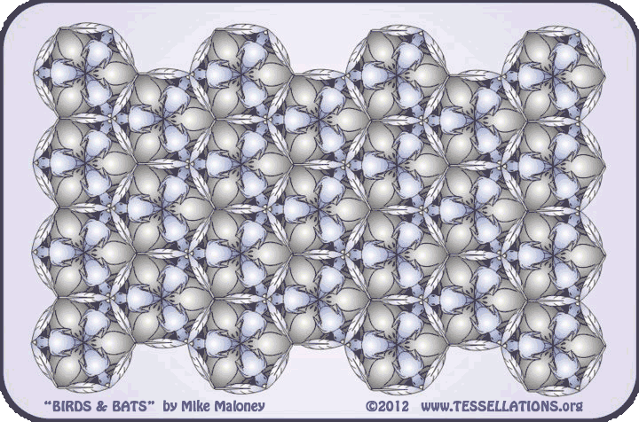 escher style bird + bat tessellation art by Mike Maloney