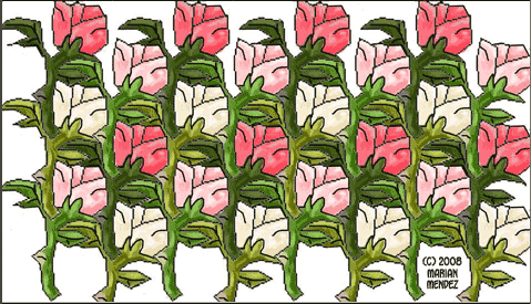 Tessellating Roses with Leaves and Stems