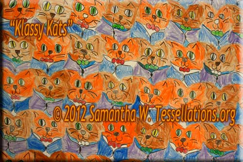 housecat face theme, first-time tessellation art by a child math student