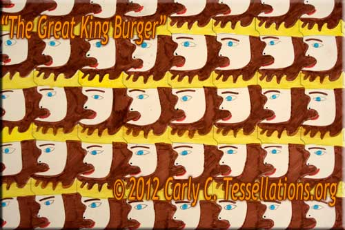 faces and heads theme, first-time tessellation art by a child math student