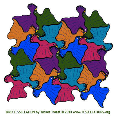 escher style bird tessellation art by Tucker Troast
