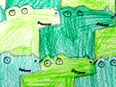 tessellatioin art: alligators and crocodiles motif