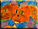 cat head theme tessellation art by a child