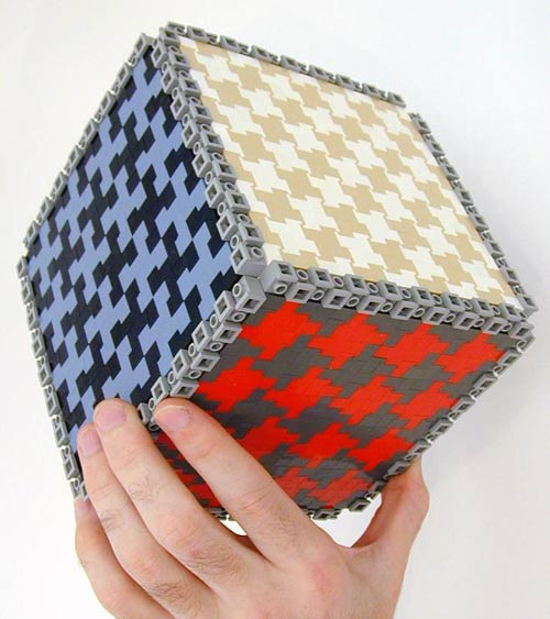 tessellation art: a 3D cube made from Lego plastic bricks
