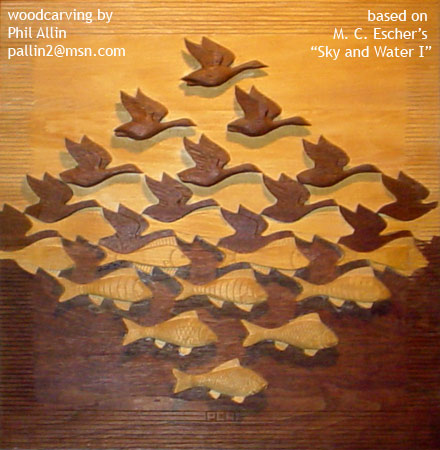 Phil Allin's woodcarving of Escher's 'Sky and Water 1'