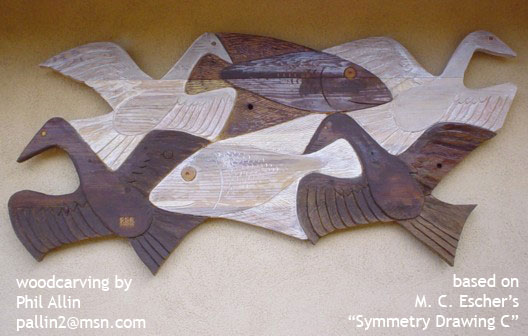 Redwood woodcarving by Phil Allin, based on M. C. Eschers Symmetry Drawing C