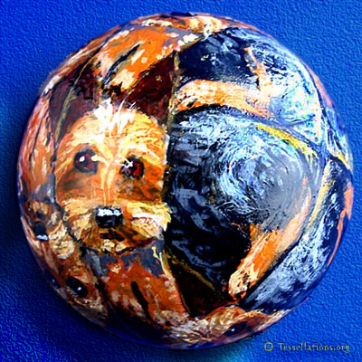 3D dog theme Escher style tessellation painted on a rubber ball