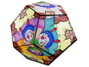 Tessellation: Escher-style art with a clown motif, on the surface of a dodecahedron              (a Platonic solid made from 12 pentagons)