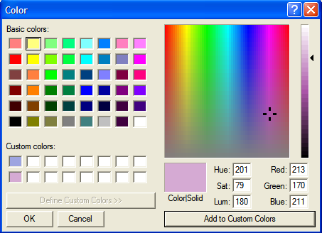Choosing a Customized Background Color