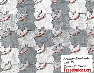 make-your-own tessellation art by a 4th grade student, elephant theme