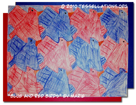 Escher style tesselation of blue and red birds