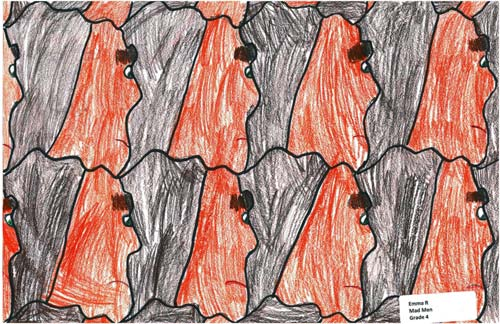 Angry men tessellate in this first-time tessellation by a 4th grade child