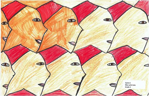 A tessellation of fez-wearing heads, a first-time tessellation by a 4th grademath student