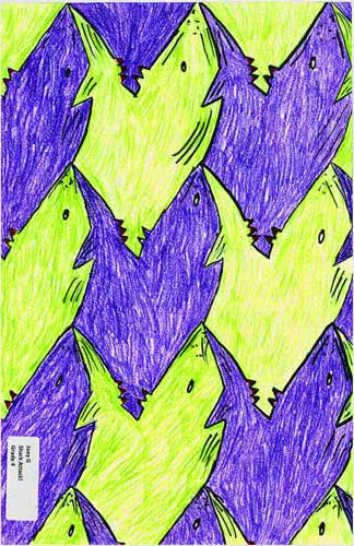 shark attack, first-time tessellation art by a child math student