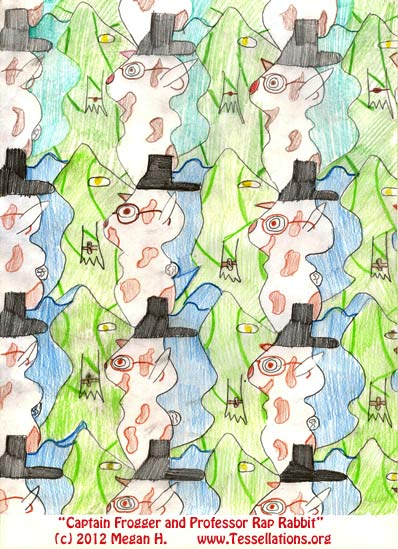 'angry birds' game theme, first-time tessellation art by a child math student