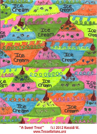 icecream theme, first-time tessellation art by a child math student