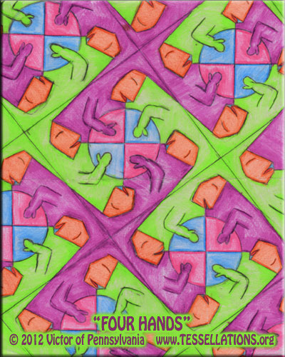 caterpillar motif first-time tessellation by a child