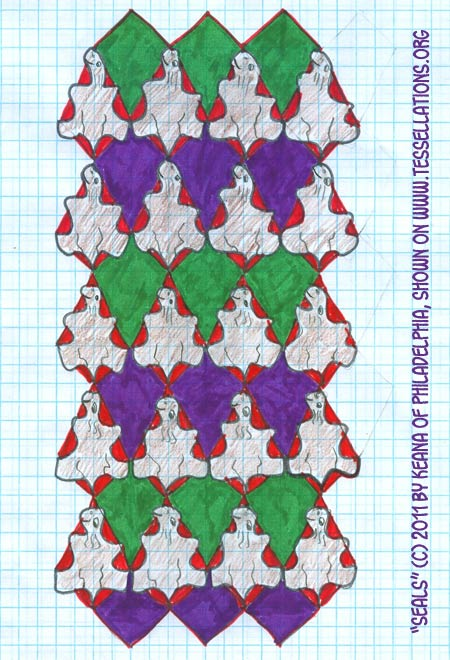 Oceangoing Seals tessellate in this first-time tessellation by a 9th grade child