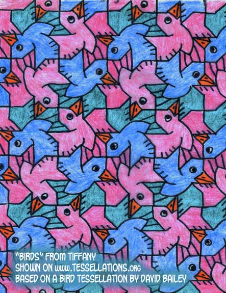 BIRDS tessellation by David Bailey, reproduced by Tiffany
