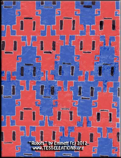 robot motif first-time tessellation by a child