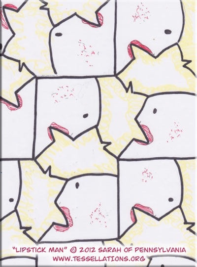 face / head motif first-time escher tessellation by a kid