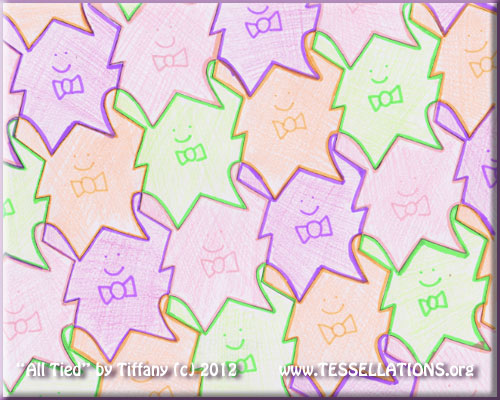 cute little guys motif first-time tessellation art from a 9th grade geometry student