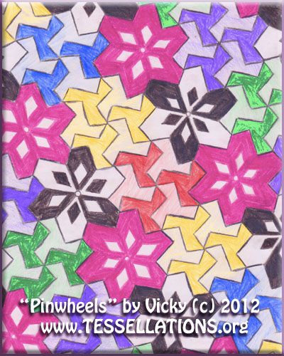 pnwheel motif first-time abstract geometric (alhambra-style) tessellation art by a 9th grade geometry student