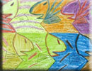 fish tessellation art by a 4th grade math student