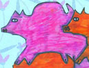 Pig tessellation art by a geometry student