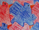 tiling bird tessellation art by a child