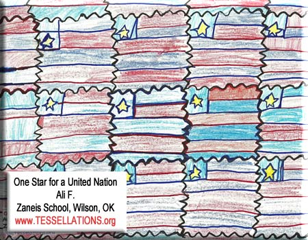 make-your-own tessellation art by a 4th grade student, flag theme