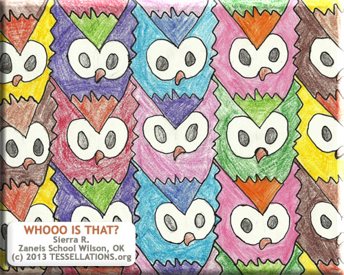 owl tessellation by a 4th grade student, bird theme