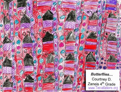 make-your-own tessellation art by a 4th grade student, butterfly theme