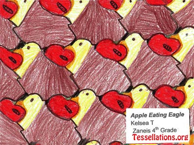 make-your-own tessellation art by a 4th grade student, bird theme