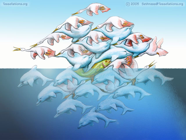 Animals...Birds and Dolphins... Tessellate in this M C ESCHER STYLE art.