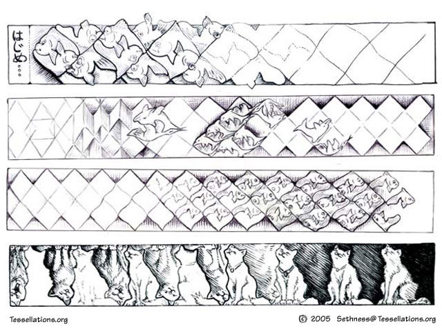 lengthy morph of tessellations, escher style, by seth bareiss