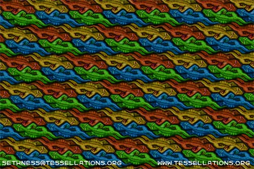 crocodile theme escher style tessellation art