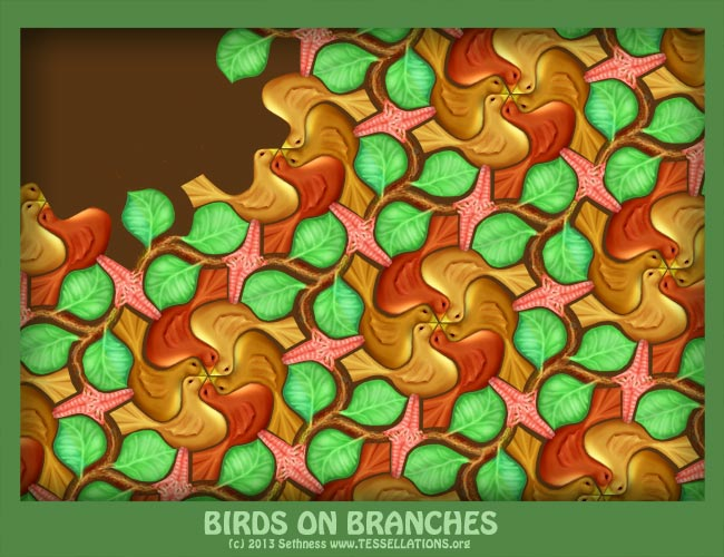 tessellation of partridge in a pear tree