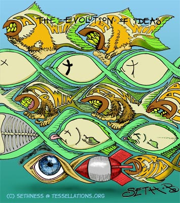 Evolution: DarwinFish JesusFish tessellation art